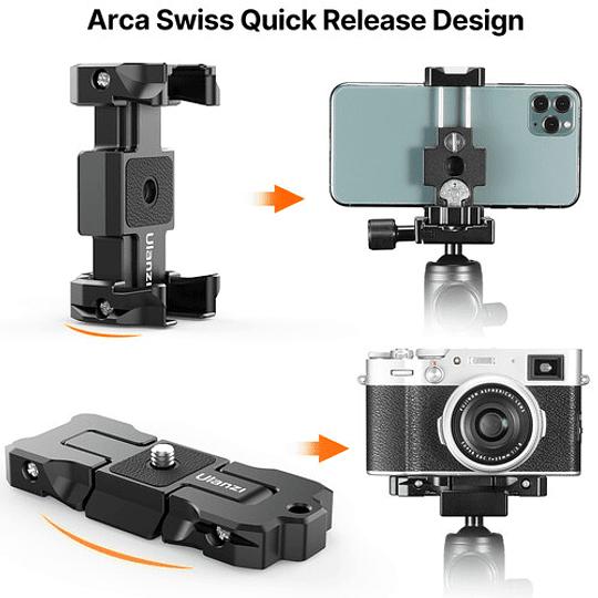 Ulanzi ST-15 Quick Release 2 en 1 - Plato Arca Swiss y Soporte para Smartphone en Trípode - Image 8