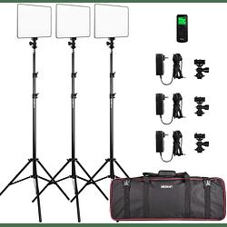 Viltrox VL-200 Bi-3 Kit de 3 Panel Led 30W/2450Lux Regulable 3300K-5600K LED CRI 95+