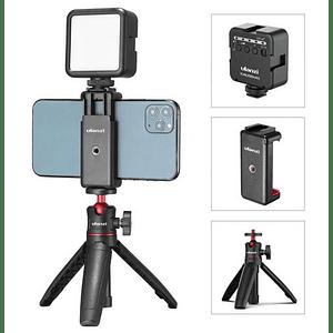 Ulanzi VLOGKIT Kit de Trípode + Luz Led y Soporte de Smartphone para Teletrabajo