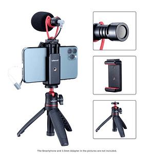 Ulanzi VIDEOKIT Kit de Trípode + Micrófono y Soporte de Smartphone para Teletrabajo