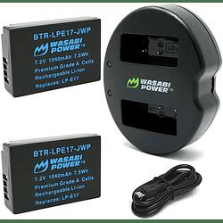 Wasabi Power LP-E17 Kit de Baterías y Cargador para Canon/ KIT-BB-LPE17
