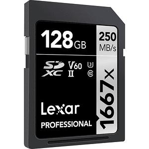 Lexar 128GB Professional 1667x UHS-II U3 SDXC V60 250MB/S Tarjeta de Memoria 4K