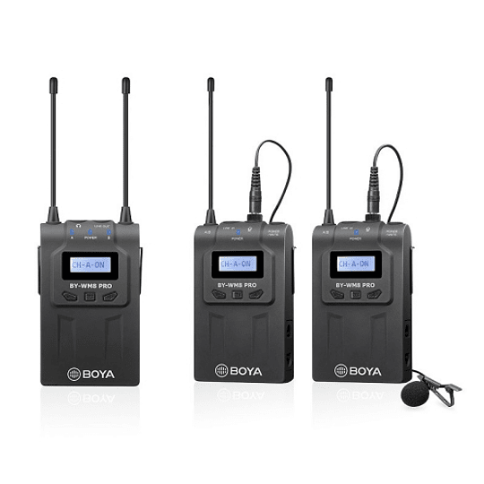 BOYA BY-WM8 Pro-K2 UHF Sistema Lavalier Wireless de Doble Canal - Image 1