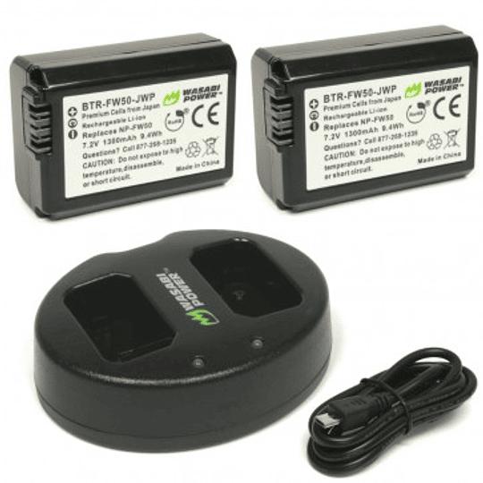Wasabi Power KIT-BB-FW50 Pack de dos baterías con cargador Sony NP-FW50