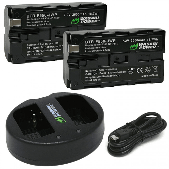 Wasabi Power NPF550 Kit de Baterías y Cargador para Sony / KIT-BTR-F550