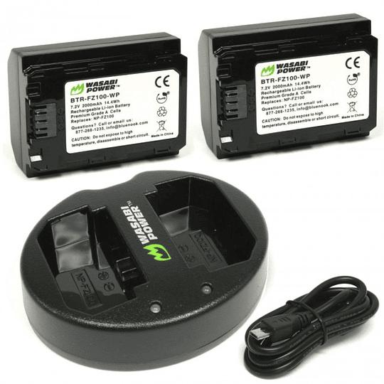 Wasabi Power KT-BB-FZ100-02 Pack de 2 Baterías con Cargador Doble para Sony NP-FZ100  - Image 1