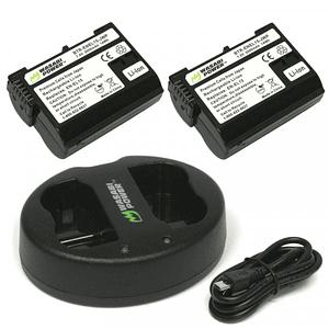 Wasabi Power EN-EL15 Kit de Baterías y Cargador para Nikon / EN-EL15