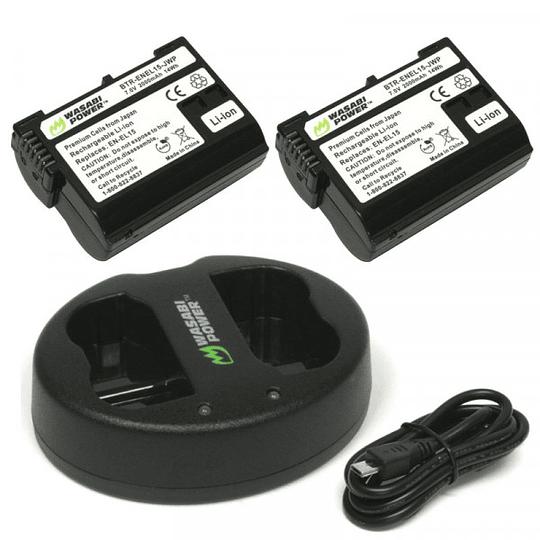 Wasabi Power EN-EL15 Kit de 2 Baterías y cargador doble EN-EL15 para Nikon - Image 1