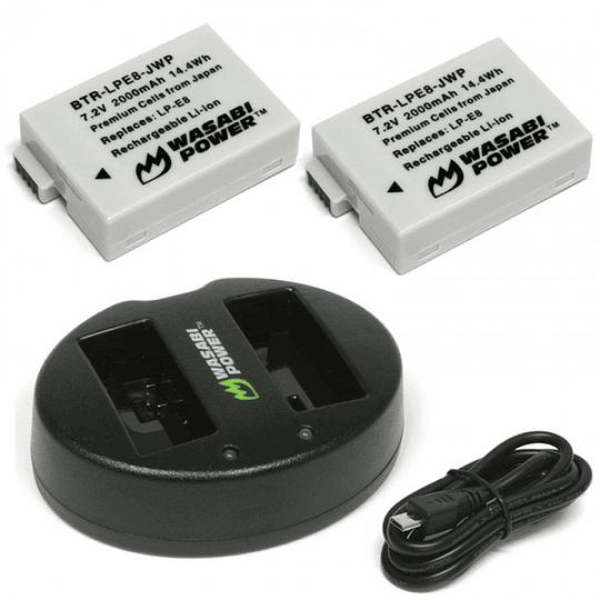 Wasabi Power LP-E8 Kit de Baterías y Cargador para Canon / KIT-BB-LPE8  - Image 1