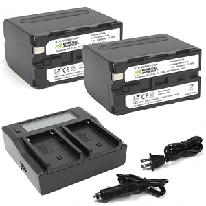 Wasabi Power KIT-BB-NPF960 Kit 2 Batería y Cargador  NPF960 para Sony