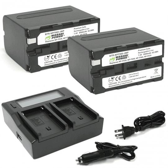 Wasabi Power KIT-BB-NPF960 Kit 2 Batería y Cargador  NPF960 para Sony