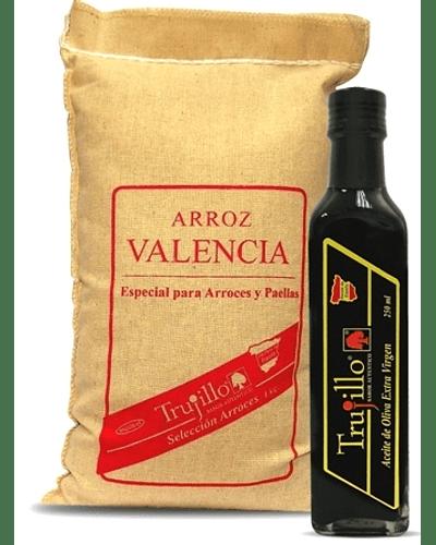 Pack ARROZ VALENCIA TRUJILLO - SACO DE 1 KG. + ACEITE DE OLIVA EXTRA VIRGEN TRUJILLO - BOTELLA 250 CC.