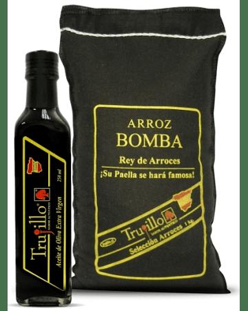 PACK Arroz Bomba Trujillo - saco de 1 kg. + Aceite de Oliva Extra Virgen Trujillo - Botella 250 cc.