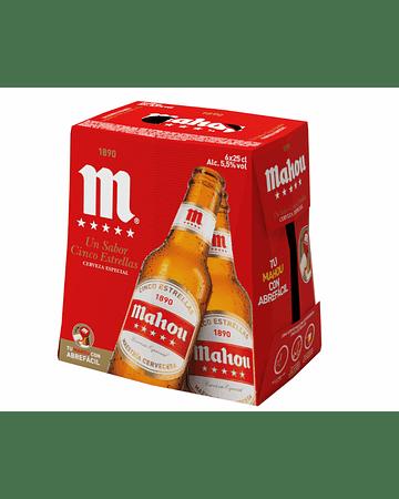 Cerveza Mahou Cinco Estrellas -Pack 6 botellas de 250 ml.