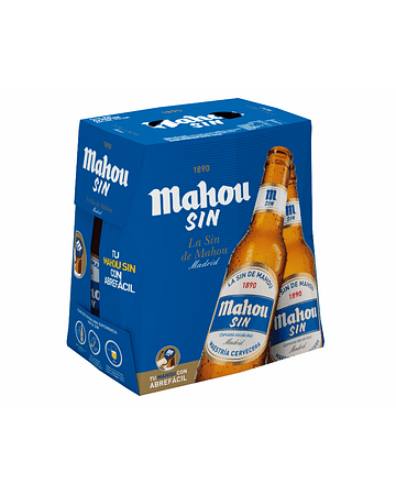 Cerveza Mahou SIN ALCOHOL - Pack 6 botellas de 250 ml.