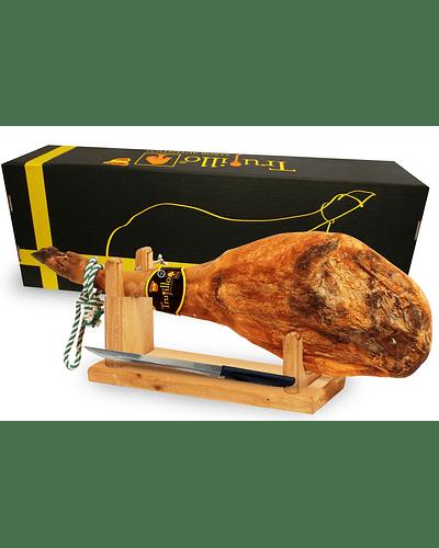 Caja Pata de Jamón Ibérico de Cebo Trujillo Et. Negra (7,5 kg. aprox.) + atril y cuchillo