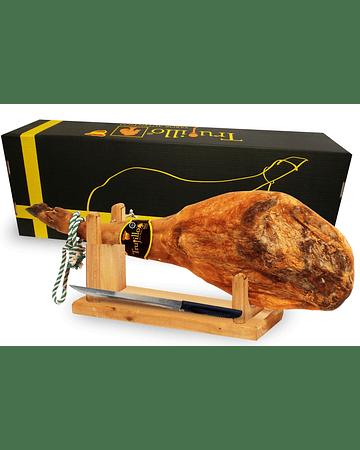 Caja Pata Jamón Ibérico Puro de Bellota D.O. Jabugo Trujillo Et. Negra (7, 5 kg. aprox.) + atril y cuchillo