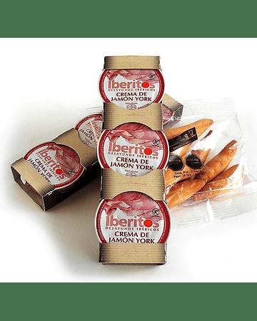 Iberitos Crema de Jamón Pierna - Pack 3 monodosis de 25 gr. cada uno + Bastones de regalo!