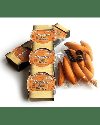 Iberitos Paté Ibérico - Pack 3 monodosis de 25 gr. cada uno + Bastones de regalo!