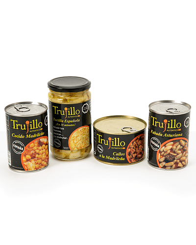 Pack Conservas Trujillo (Tortilla de papas - Callos - Cocido - Fabada)