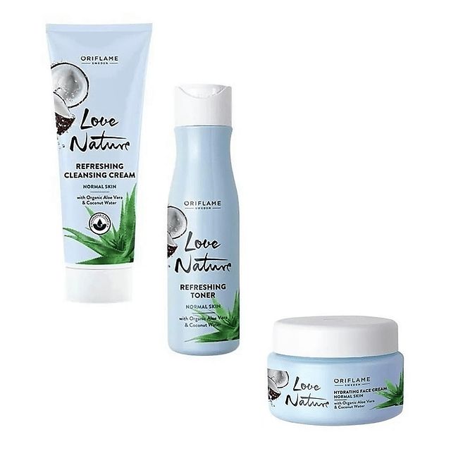Limpiadora + tónico + crema facial aloe love nature oriflame pack