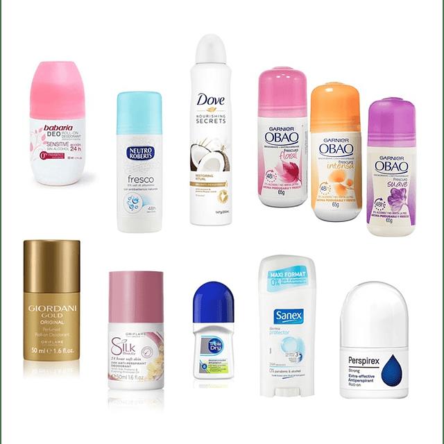 Desodorante antitranspirante variedades roll on barra spray mujer