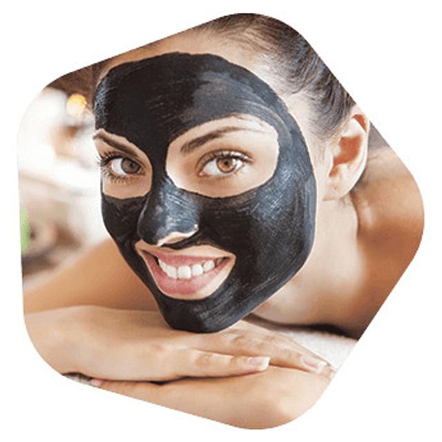 Mascarilla facial negra avon clearskin carbón activo piel grasa rostro