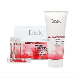 Crema + ampollas reductoras adiposuction reductivo grasa corporal dermik