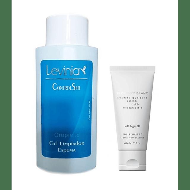 Gel limpiador control seb levinia + Crema humectante argán oil free
