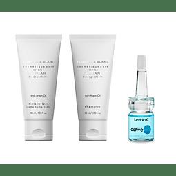 Crema + shampoo argán nutritivo + Suero ácido hialurónico antiedad