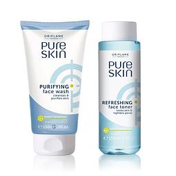 Gel limpiador facial pure skin + Loción astringente rostro antiacné set