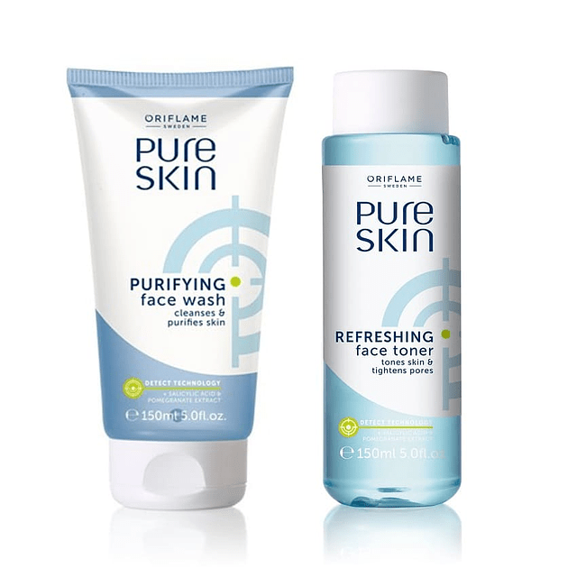 Pure skin facial cleansing gel + astringent anti-acne face lotion set