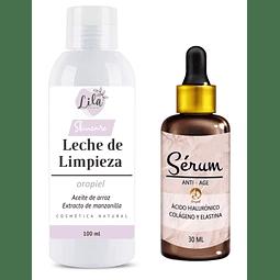 Leche de limpieza nutritiva + Serum ácido hialurónico hidratante rostro