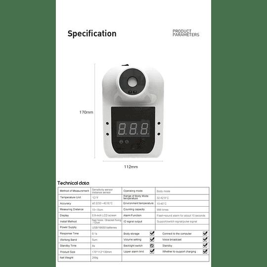 Termómetro inteligente de muro infrarrojo