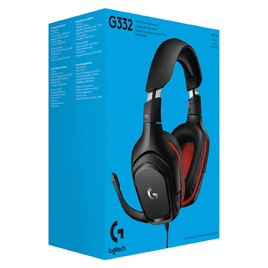 Audífonos Logitech Gaming G332 con micrófono, Black/Red - Image 2