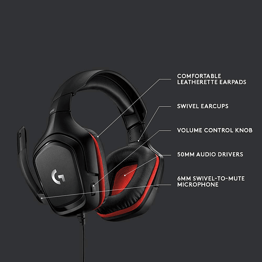Audífonos Logitech Gaming G332 con micrófono, Black/Red - Image 3