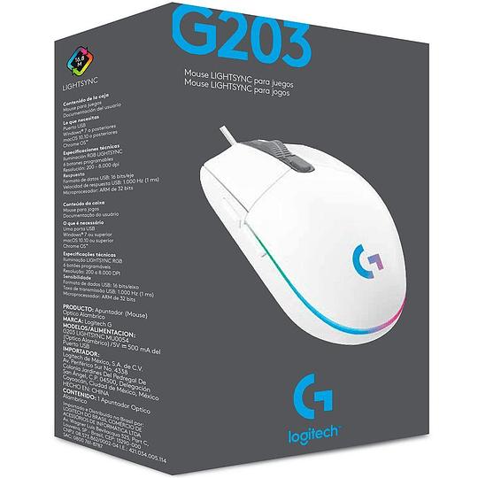 Mouse Gamer Logitech G203 RGB LIGHTSYNC, 6 botones programables, 8.000 DPI, White  - Image 4