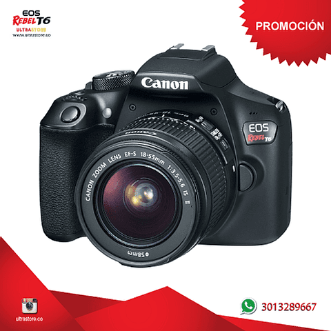 Canon t6 / 1300D 18-55mm Is con Memoria 32gb y Estuche