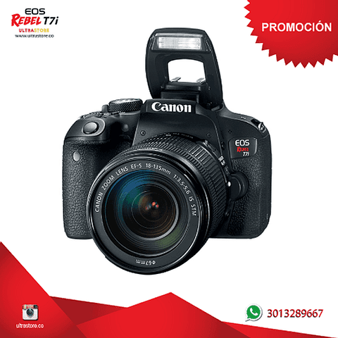 Canon T7i / 800D 18-135mm Is Nano con Memoria 32gb y Estuche
