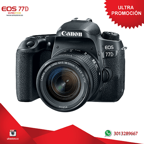 Canon 77D 18-55mm Is Stm con Memoria 32gb y Estuche