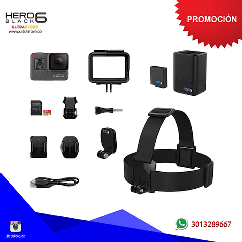 Super Kit Gopro Hero 6 Black 12mpx Video 4K Wifi Dual