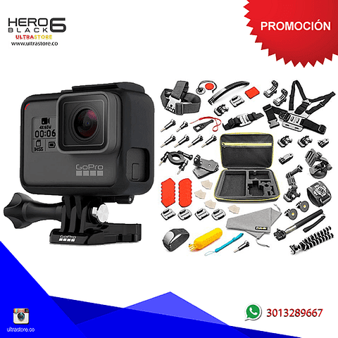 Kit Gopro Hero 6 Black 12mpx Video 4K Wifi + 50 Accesorios