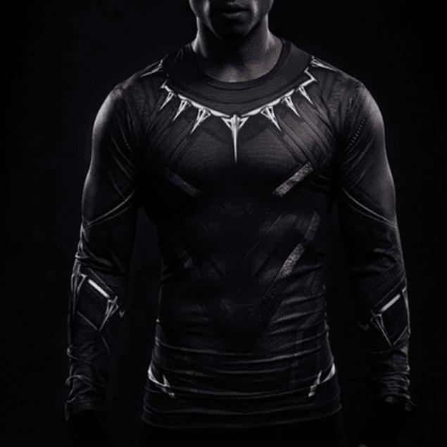Polera Compresión Black Panther Manga Larga