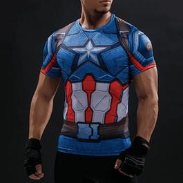 Polera Compresión Capitán América  Manga Corta