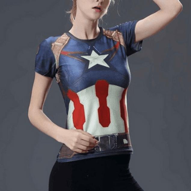 Polera Cap America #Femme Manga Corta