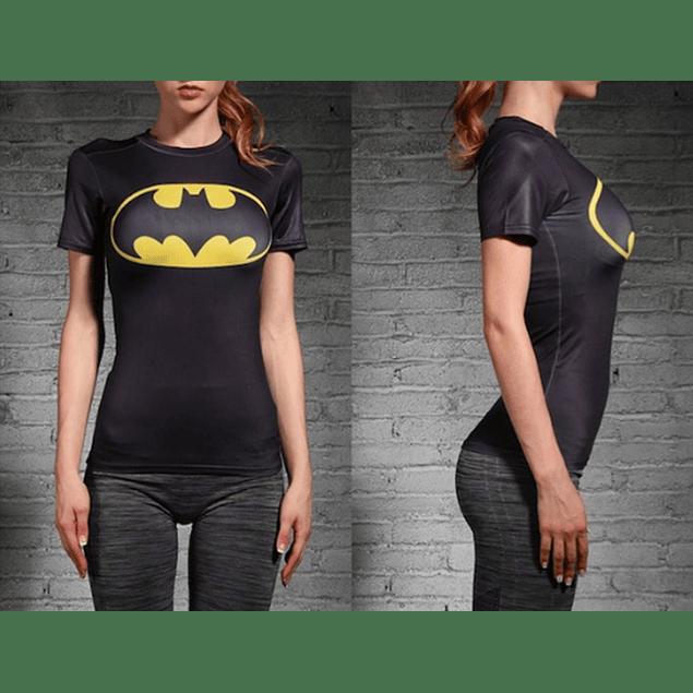 Polera Compresion BatWoman #Femme Manga Corta