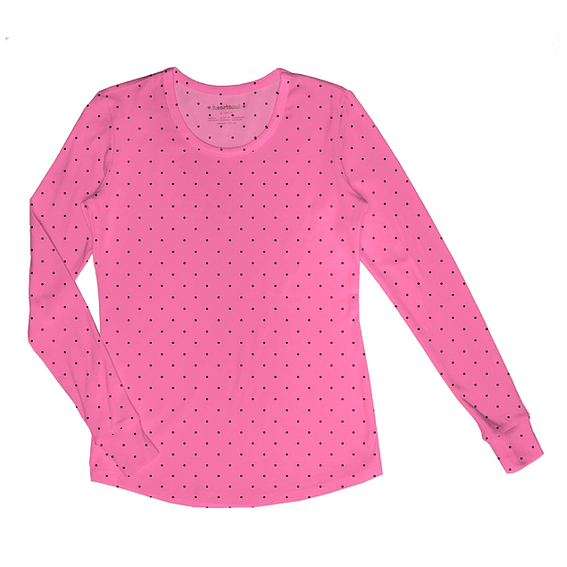 Polera Manga Larga Heart Soul Letpolka Dot Pink Party (Rosa)