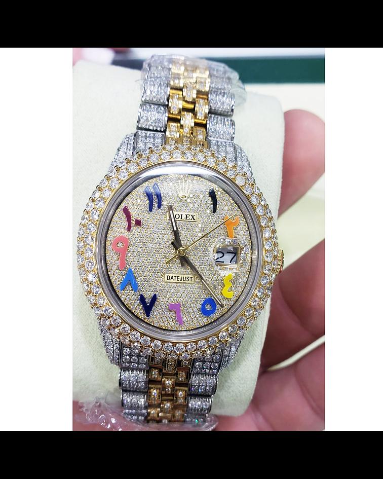Rolex DATE JUST 2020 36mm Full Diamantes Doble Tono