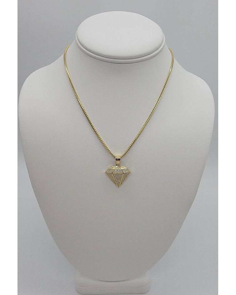 Cadena elegante 14k con dije forma de diamante 10k