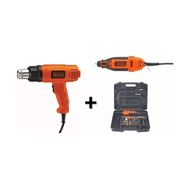 Pistola De Calor Hg1500 +mototool Rt18ka Black And Decker